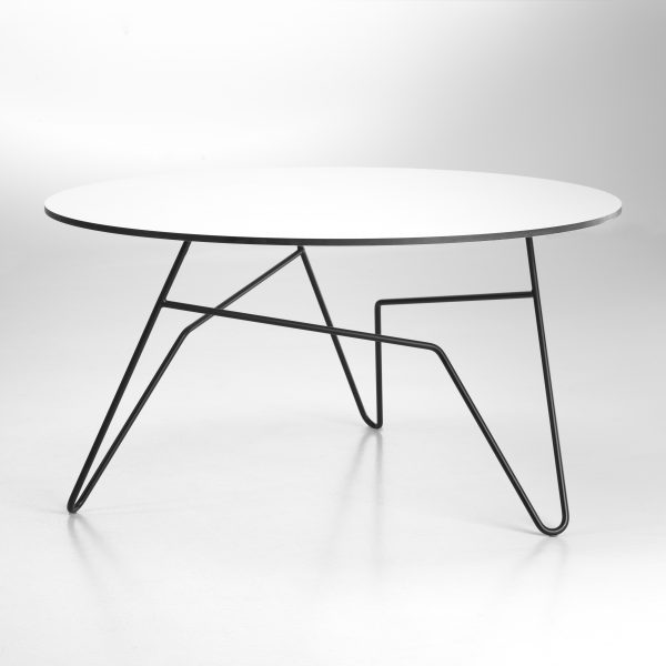Twist Table Ø85 Hvid - Sort Stel