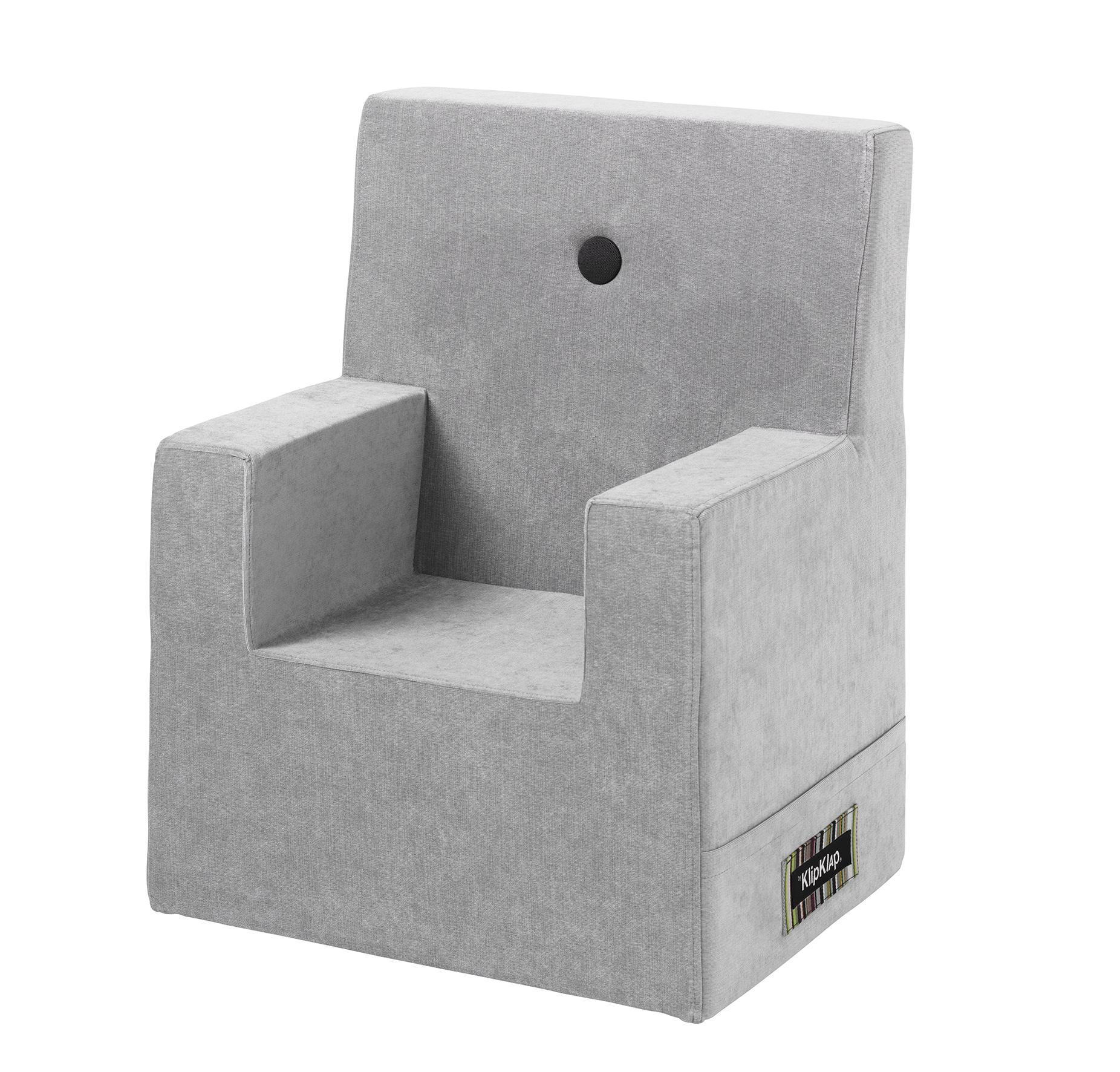 By Klipklap XL børnestol velour argent grå / grå knap