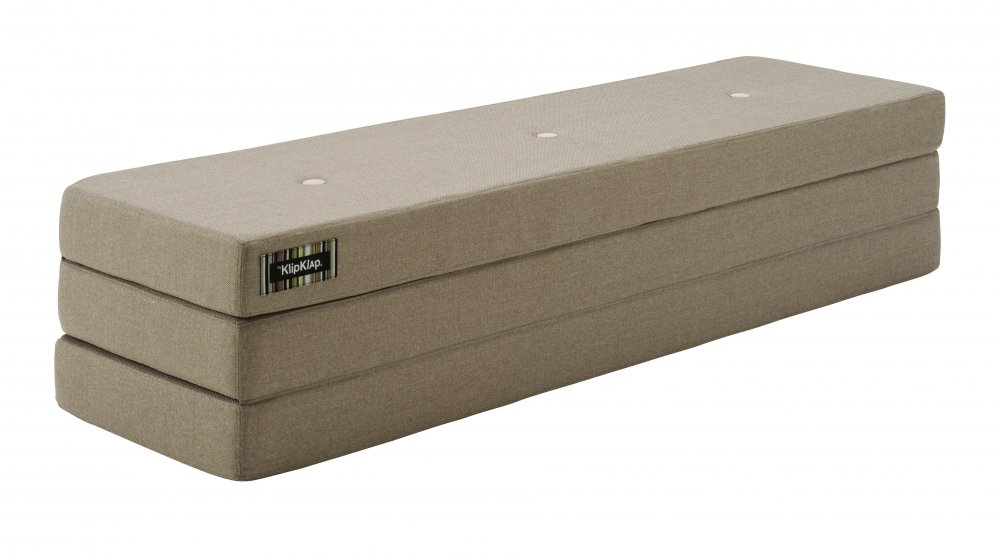 By KlipKlap 3 fold XL foldemadras varm grå / fersken