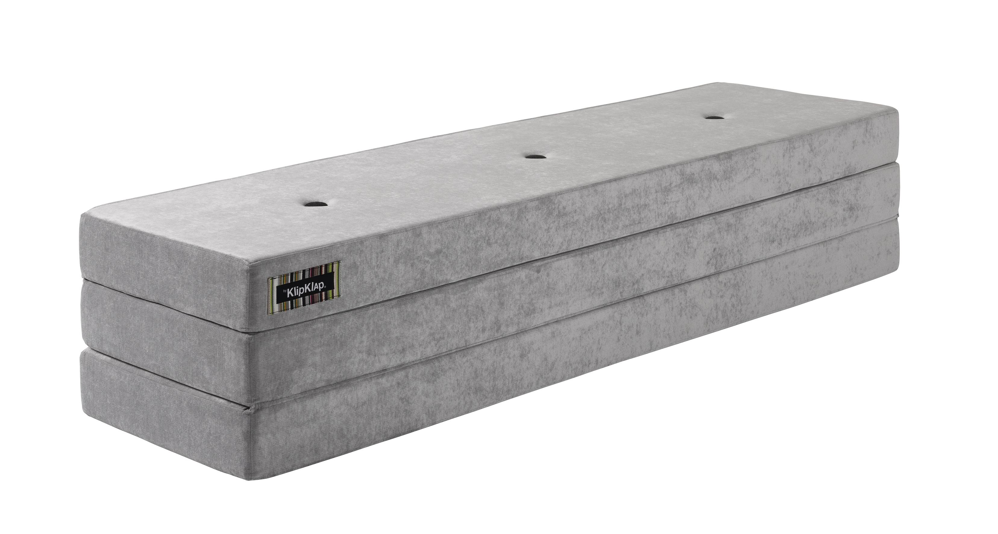 Image of   By KlipKlap 3 fold foldemadras velour argent grå / grå knap