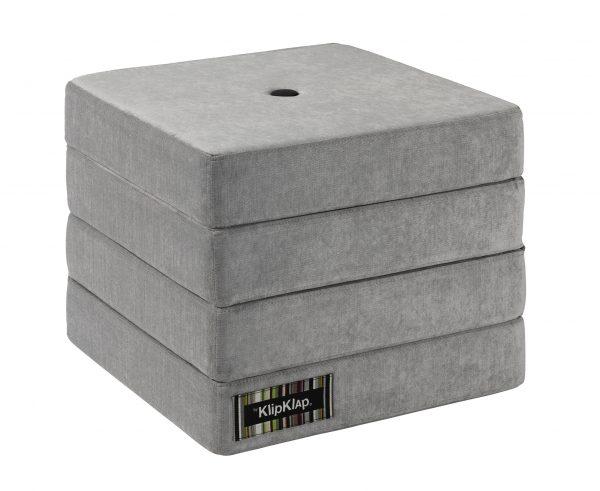 By KlipKlap 4 fold foldemadras velour argent grå / grå knap