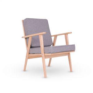 Retro lænestol lysegrå uld