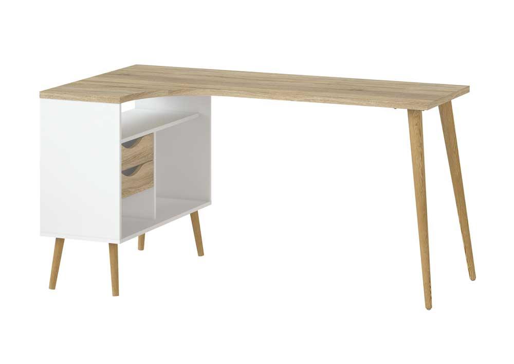 Topnotch Køb Moderne skrivebord m. egestruktur i hvidt træ m. 2 skuffer KX06