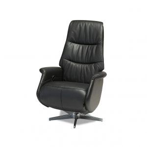 Delta lænestol - sort ægte læder