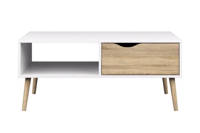 Delta sofabord - hvid-eg
