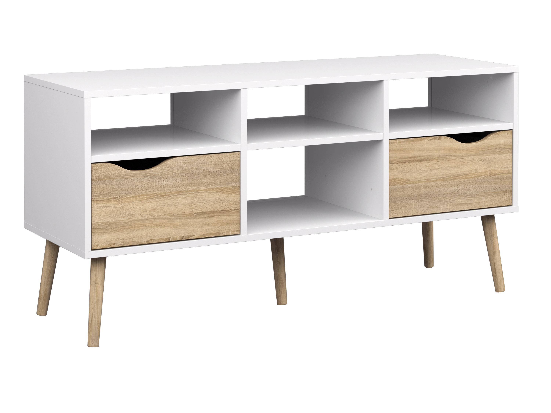98afe79c23b Køb Nordisk TV-bord i hvid-egestruktur, m. 2 skuffer og 4 rum ...