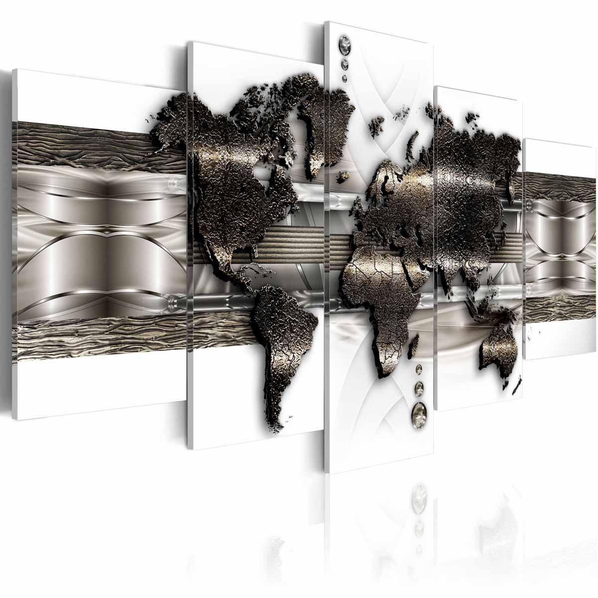 ARTGEIST Metal Verdenskort II billede - hvid/sølv/bronze print, 5-delt - Flere størrelser 200x100