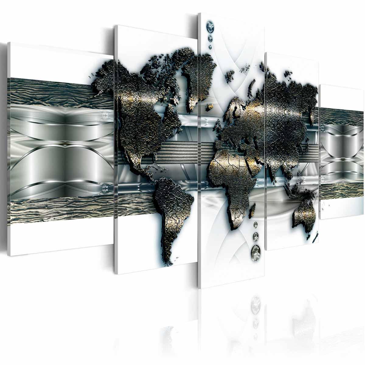 ARTGEIST Metal Verdenskort billede - hvid/sølv/bronze print, 5-delt - Flere størrelser 100x50