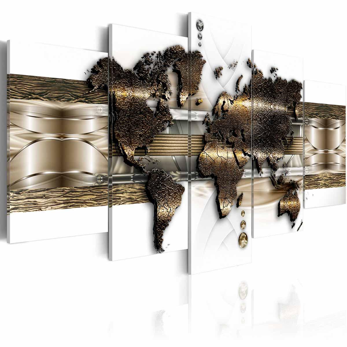 ARTGEIST Metalic World billede - hvid, guld, bronze print, 2 størrelser 100x50