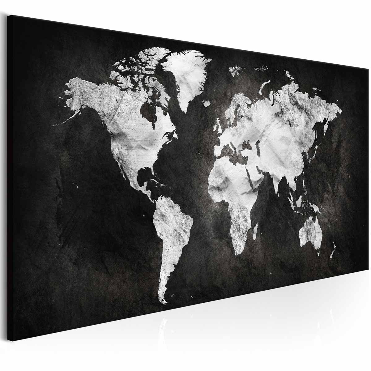ARTGEIST Two-coloured verdenskort billede - hvid/sort print, 3 størrelser 120x40