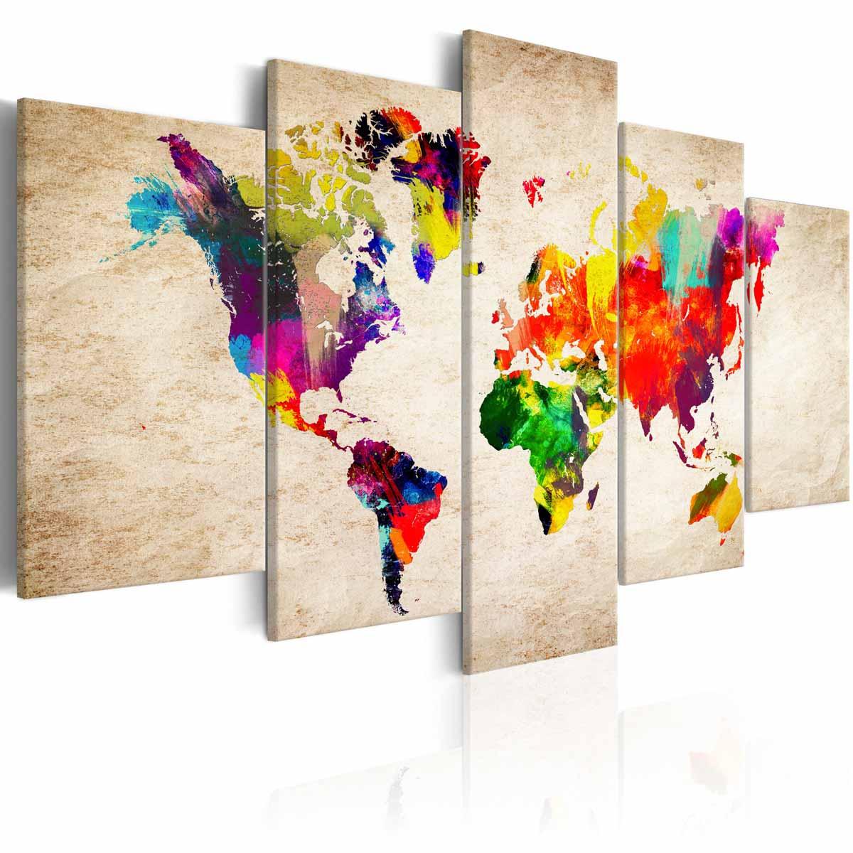 ARTGEIST Verdenskort Abstract Fantasy billede - multifarvet print, 5-delt - Flere størrelser 100x50