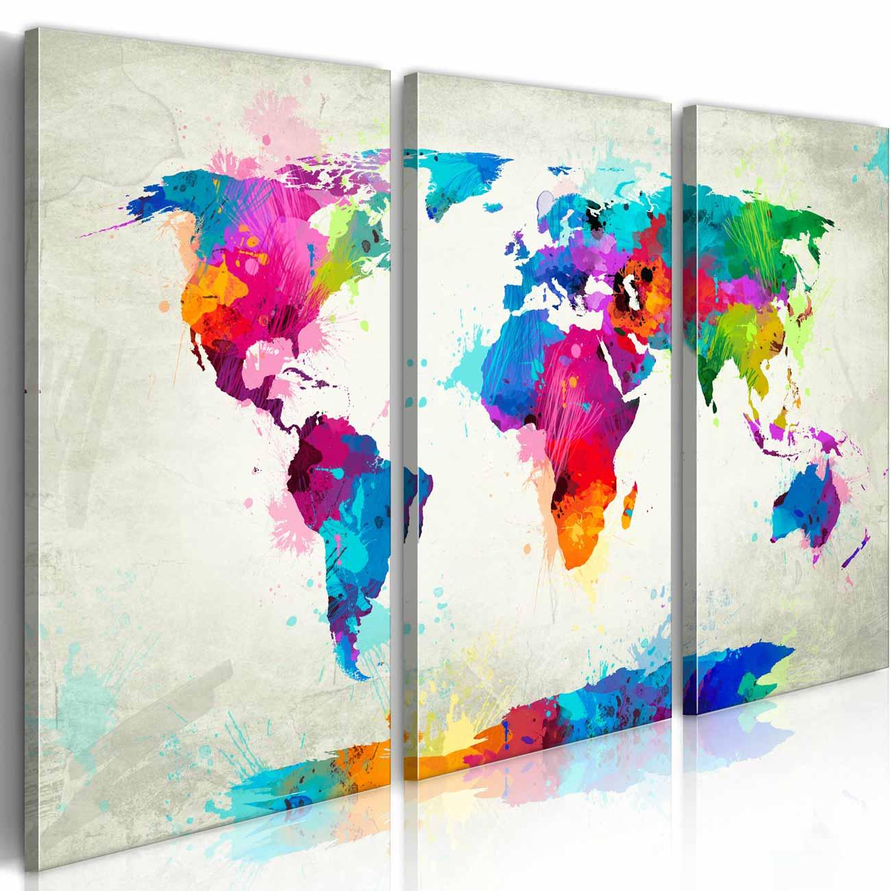 ARTGEIST Verdenskort An Explosion of Colors billede - multifarvet print, 3-delt - Flere størrelser 60x40