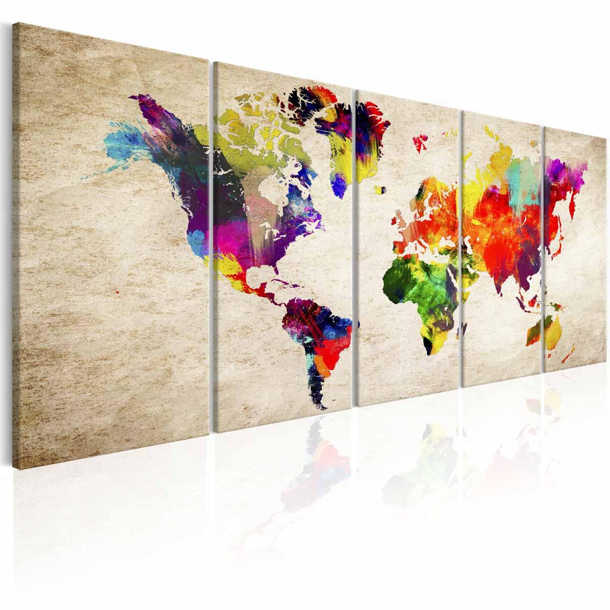 ARTGEIST Verdenskort Painted World billede - multifarvet print, 5-delt - Flere størrelser 200x80