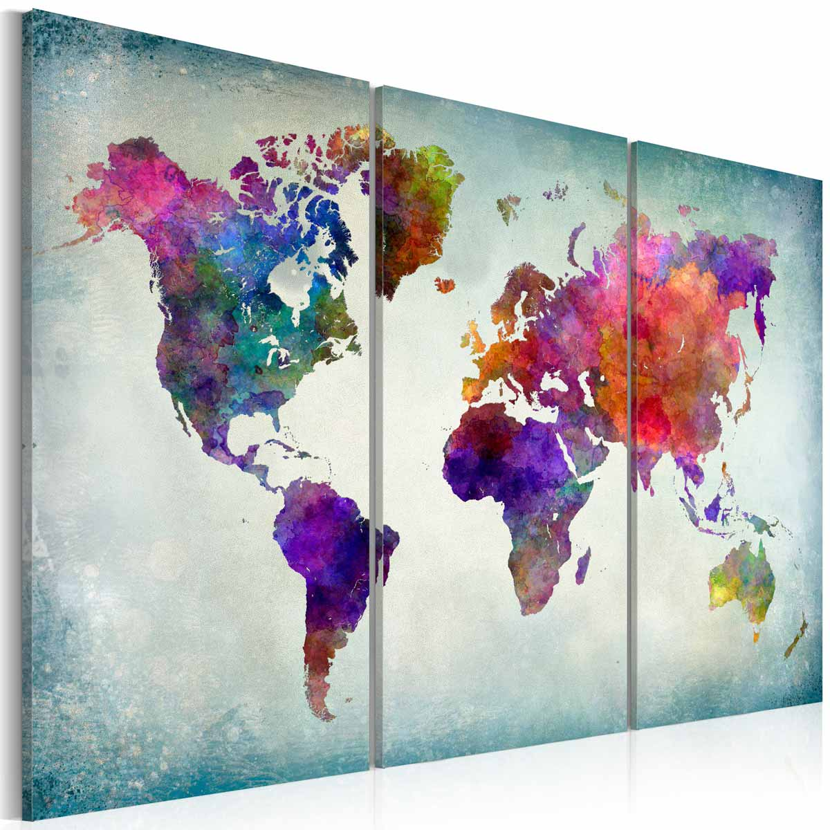 ARTGEIST Verdenskort i farver billede - multifarvet print, 3-delt - Flere størrelser 120x80