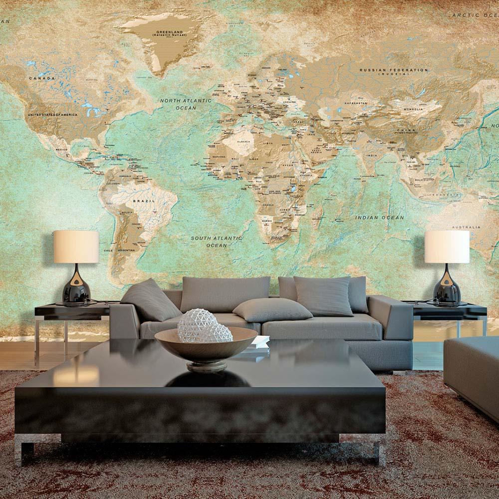 ARTGEIST fototapet - Turquoise World Map, Vintage verdenskort, stor (Flere størrelser) 500x280