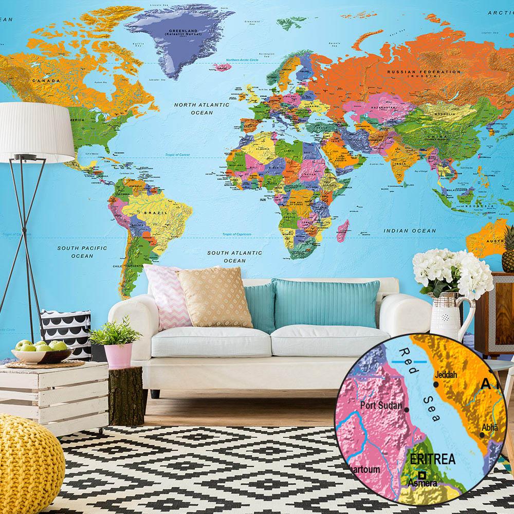 ARTGEIST fototapet - World Map: Colourful Geography, Farverigt verdenskort, stor (flere størrelser) 500x280