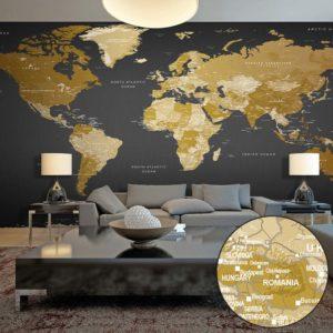 ARTGEIST fototapet - World Map: Modern Geography, Moderne verdenskort, stor (Flere størrelser) 500x280