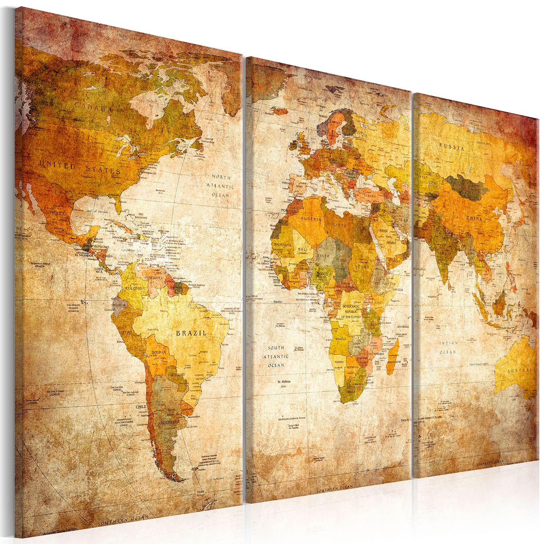 Artgeist Antique Travel - Antikt verdenskort trykt på lærred, 3-delt - Flere størrelser 120x80