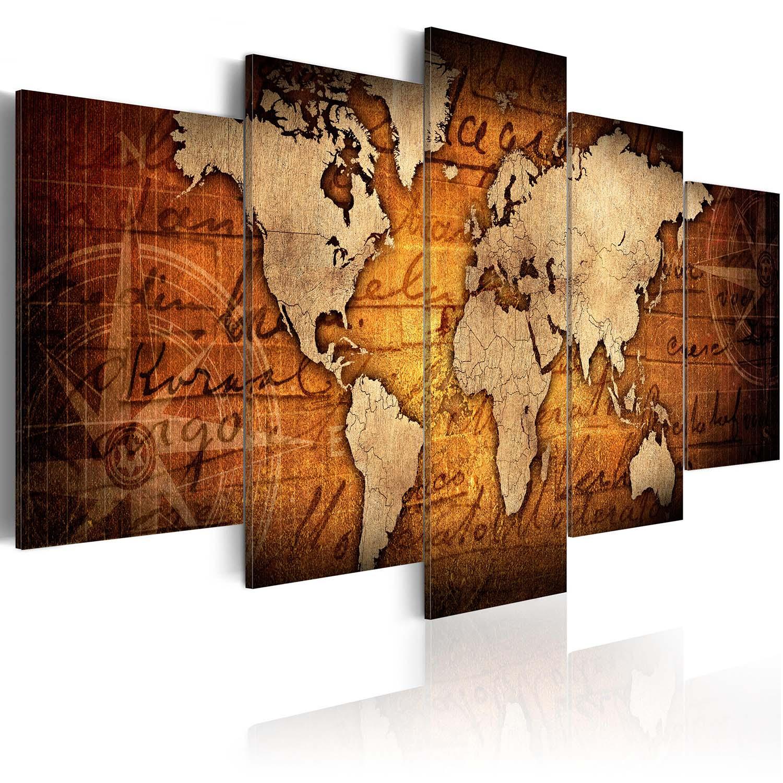 Artgeist Amber Map - Antikt Verdenskort trykt på lærred, 5-delt - Flere størrelser 100x50