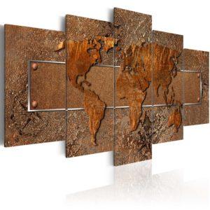 Artgeist verdenskort - Brown Escapade, på lærred, to størrelser 100x50