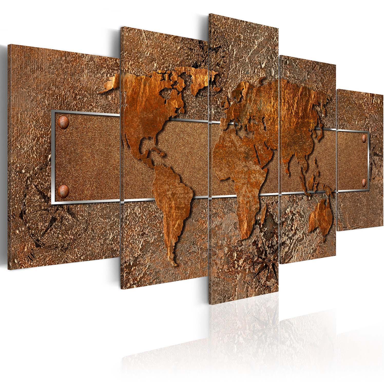 Artgeist Brown Escapade - Brunt verdenskort trykt på lærred, 5-delt - Flere størrelser 100x50