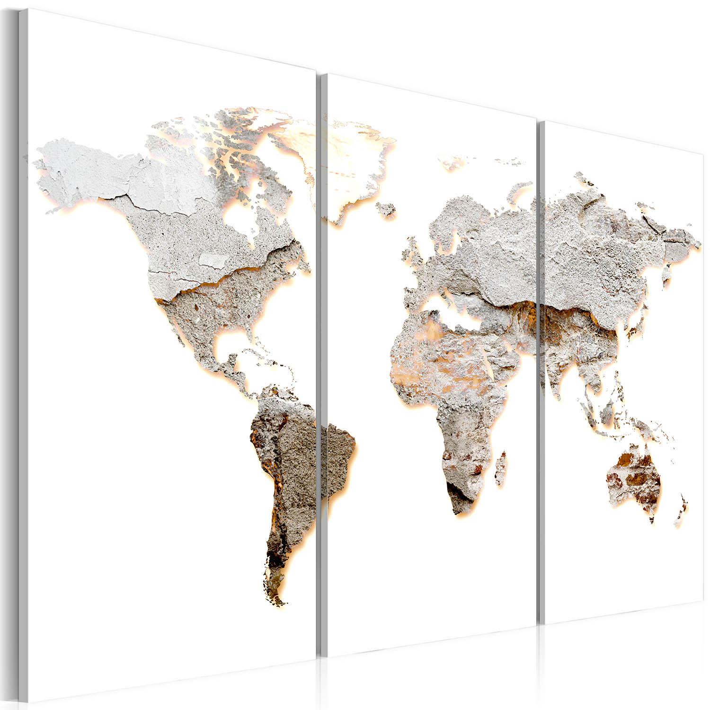 Artgeist Concrete Continents - Verdenskort med beton look trykt på lærred, 3-delt - Flere størrelser 120x80