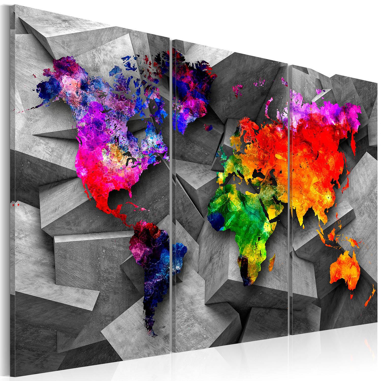 Artgeist Symmetry of the World - Farverigt verdenskort trykt på lærred, 3-delt - Flere størrelser 120x80