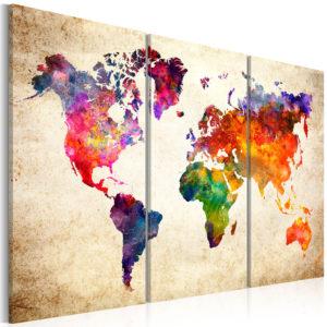 Artgeist verdenskort - The Worlds Map in Watercolor, på lærred 120x80