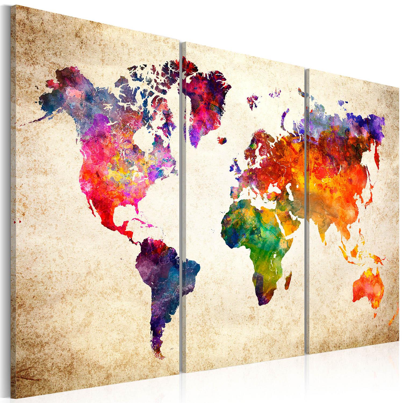 Artgeist - Verdenskort med vandfarve look trykt på lærred, 3-delt - Flere størrelser 120x80