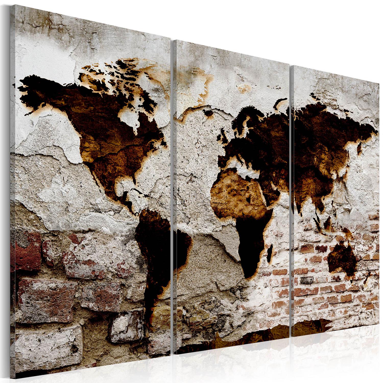 Artgeist verdenskort - Urban Travels, på lærred 120x80