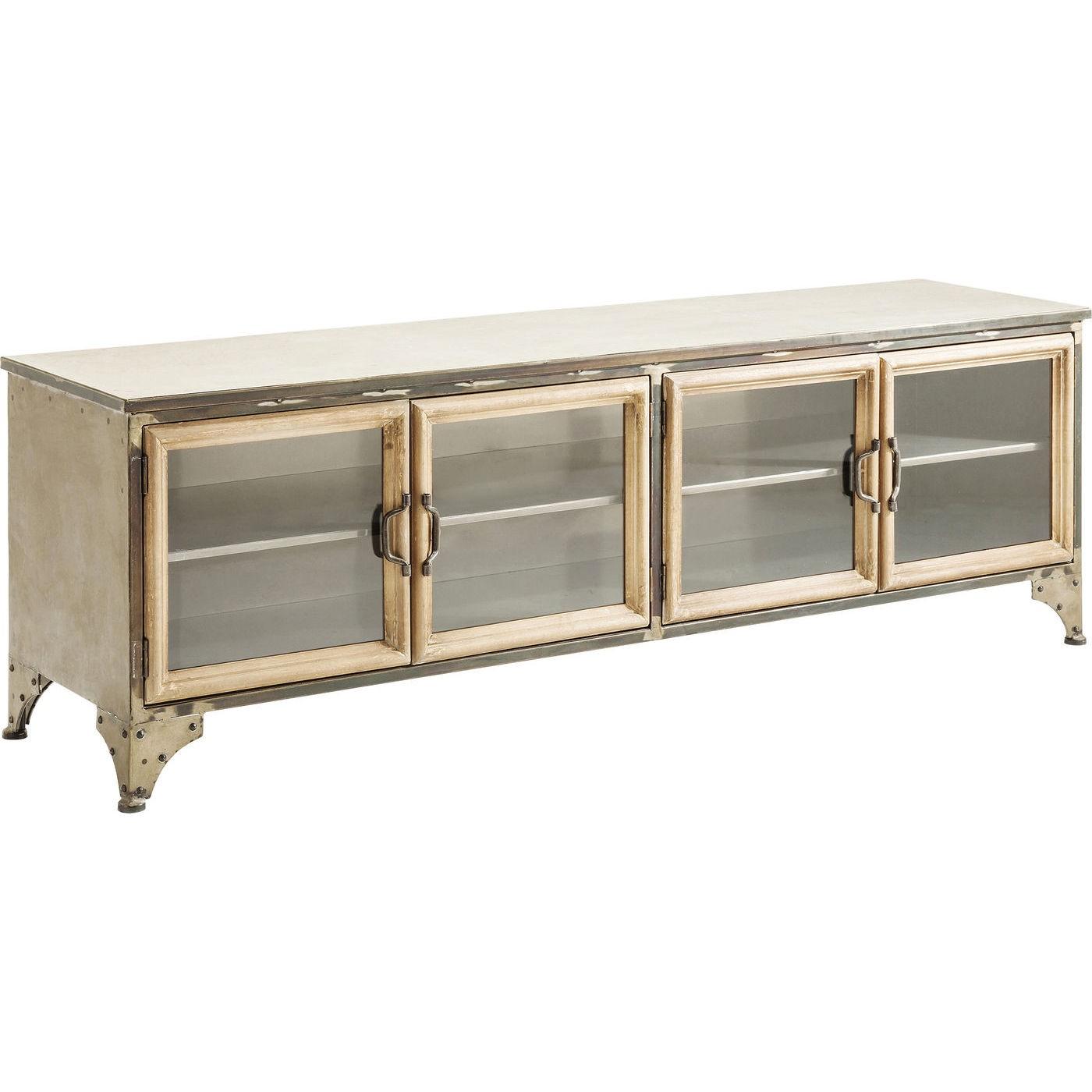 KARE DESIGN Kontor TV-bord - lakeret stål, m. 4 glaslåger