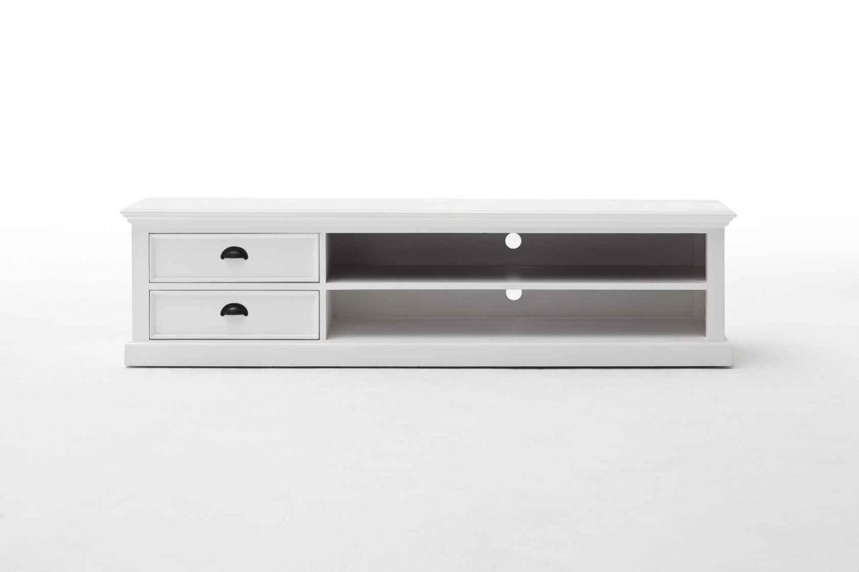 NOVASOLO Halifax TV-bord - hvid mahogni m. 2 skuffer, stor