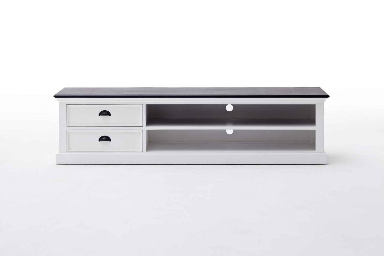 NOVASOLO Halifax TV-bord - hvid/sort mahogni m. 2 skuffer, stor