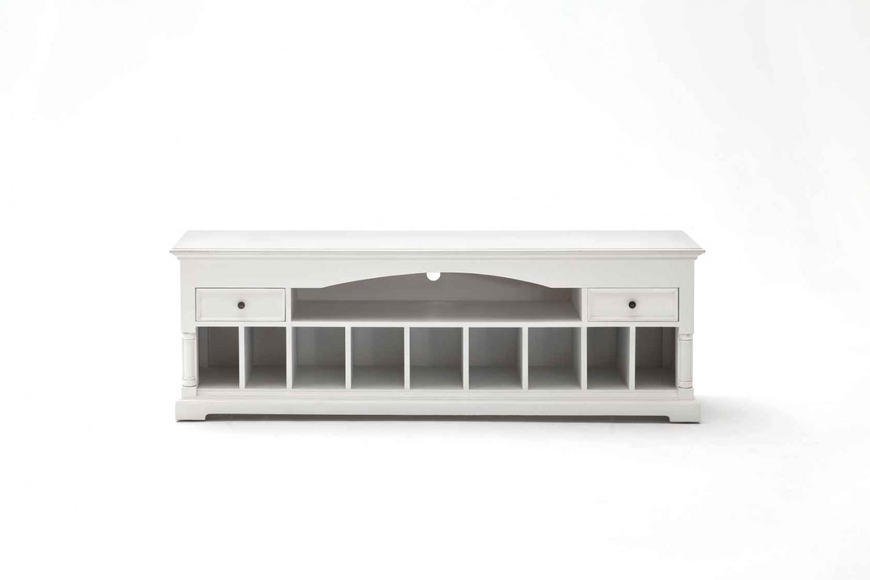 NOVASOLO Provence TV-bord - hvid mahogni m. 10 rum og 2 skuffer