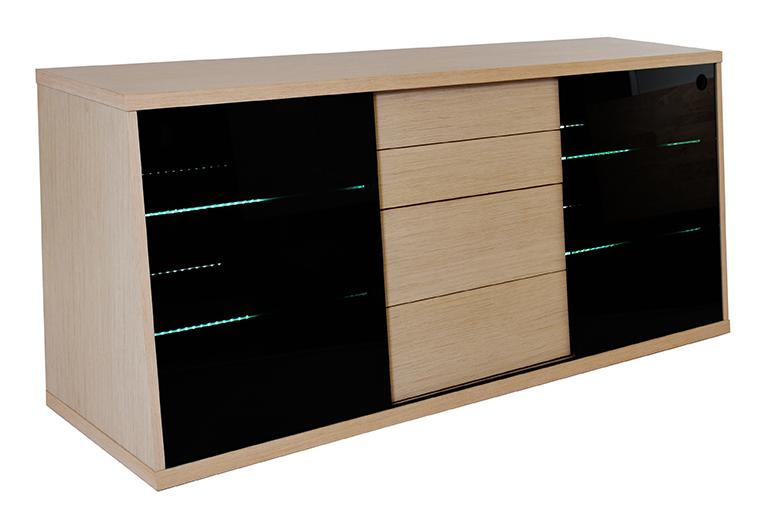 RGE Flow TV-bord - naturfarvet MDF træ, m. eg og glashylder, uden hjul, (65x150cm)