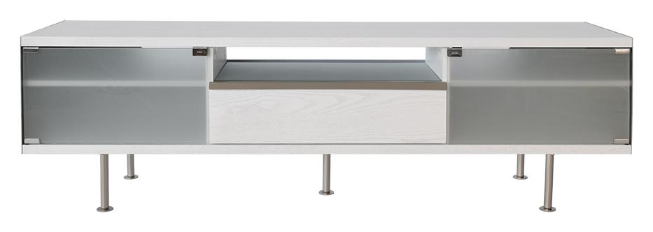 RGE Frank TV-bord - hvid/naturfarvet træ, m. skuffe og glashylde, uden hjul, (50x167cm)