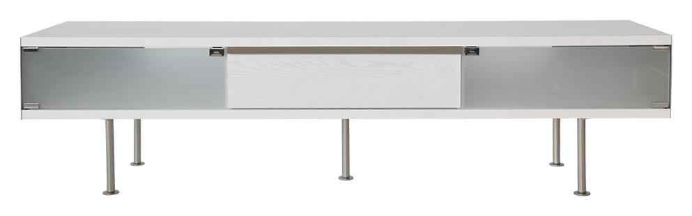 RGE Frank TV-bord med skuffe - hvid/naturfarvet træ, uden hjul, (46x180cm)