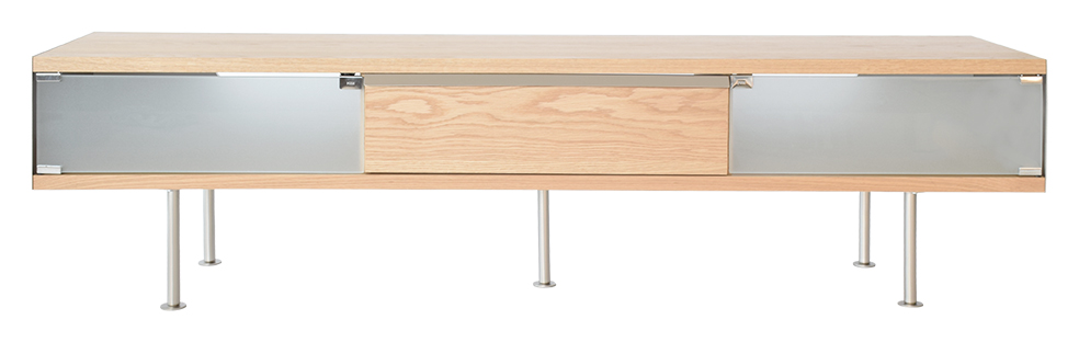 RGE Frank TV-bord - naturfarvet træ, m. skuffe og eg, uden hjul, (46x180cm)