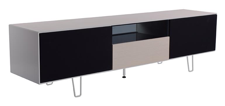 RGE Leon TV-bord - hvid/naturfarvet træ m. eg, m. sorte låger og glashylder, uden hjul, 2 låger og 1 skuffe, (50x180cm)