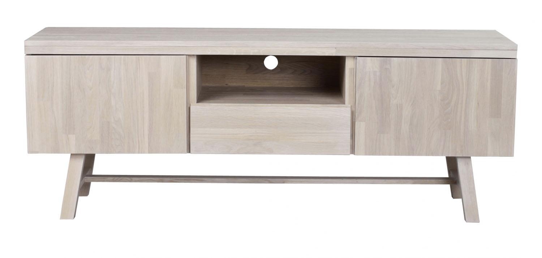 ROWICO Brooklyn TV-bord - hvidpigmenteret eg, m. 2 låger, 1 skuffe og 1 rum