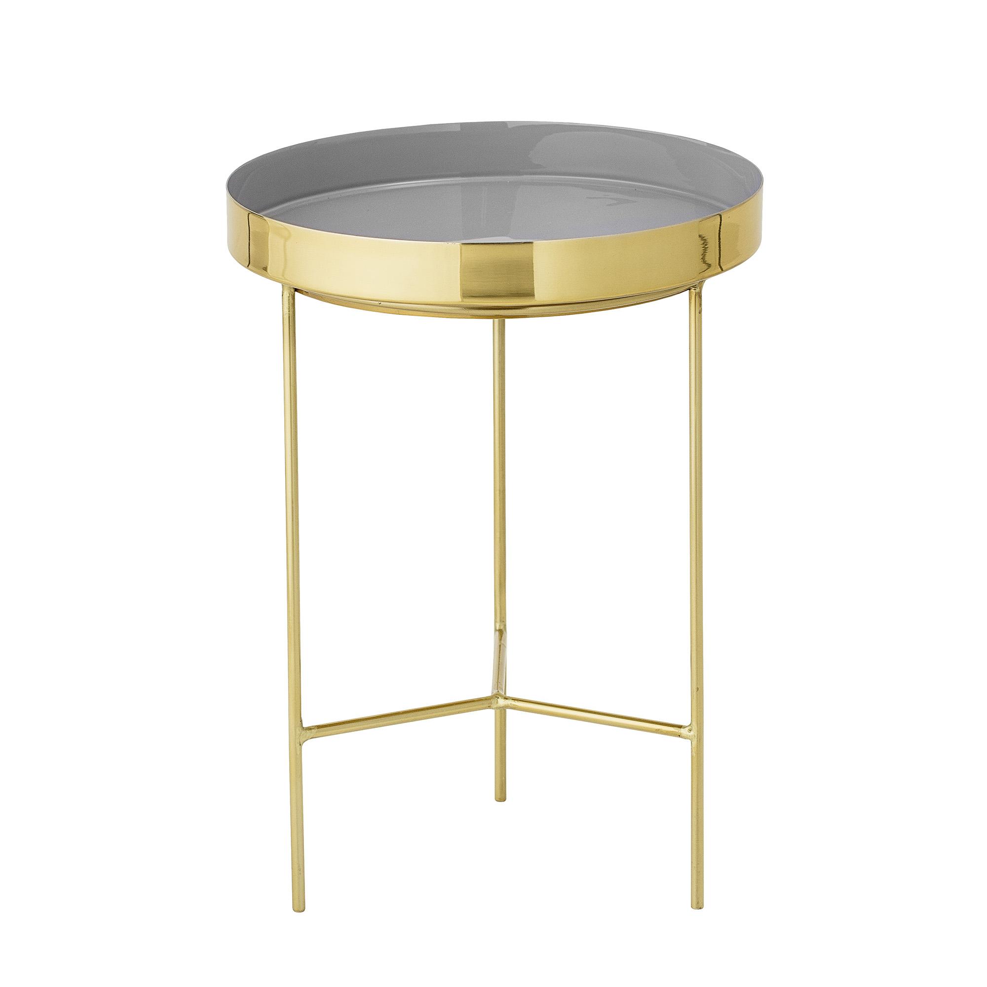BLOOMINGVILLE Sola bakkebord - grå/guld aluminium/stål, rund (Ø30)