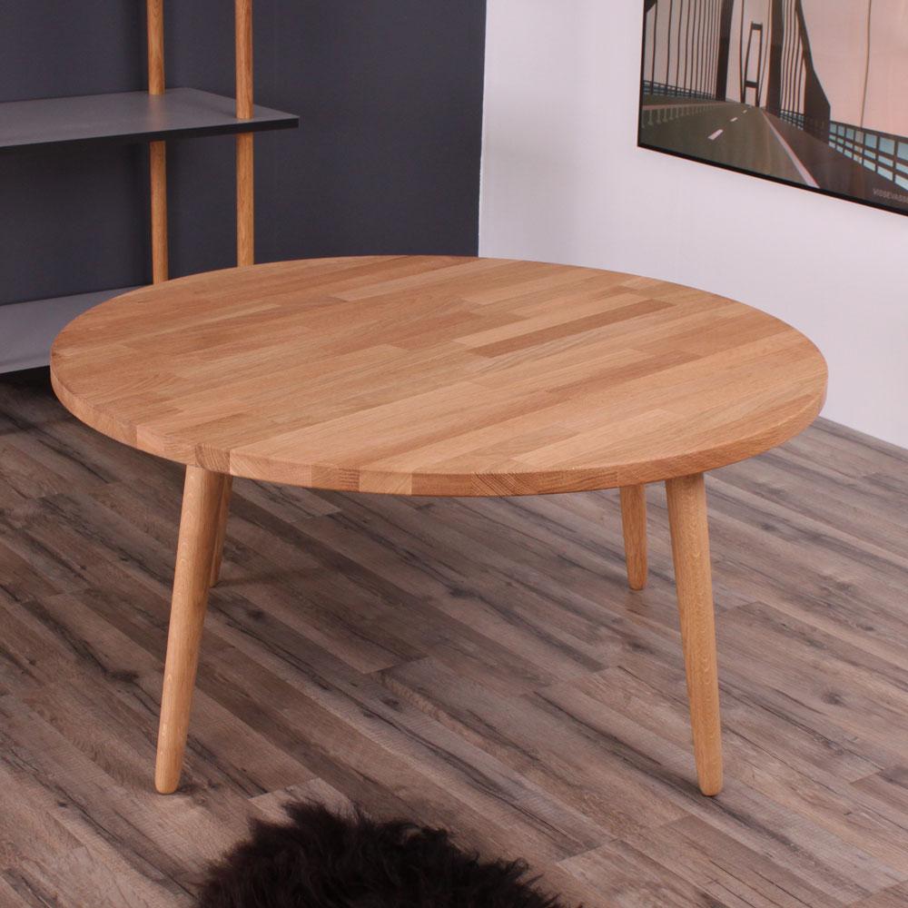 BY TIKA Metz rundt sofabord - naturfarvet egetræ, ø:100 cm, rund, (51x110x110cm)