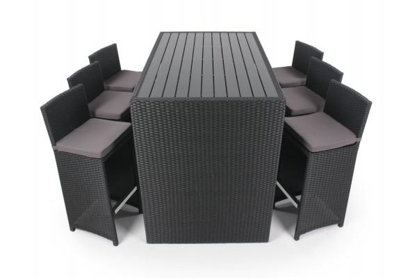 Bar med 6 stole sort