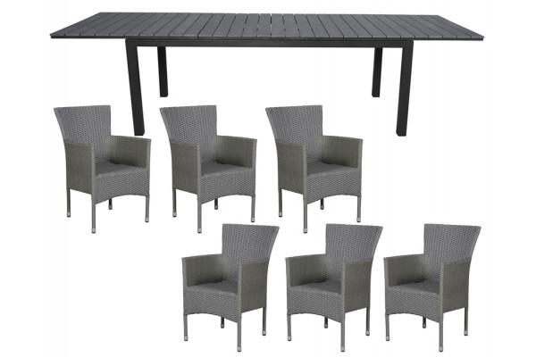 Cebu Havemøbelsæt m/udtræksbord - Grå