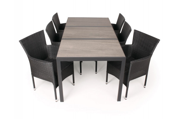 Cebu Keramik Havemøbelsæt - 90x195 cm - Sort/grå