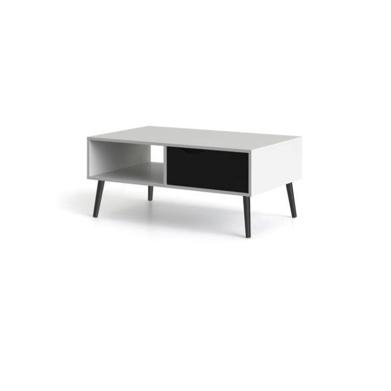 Delta sofabord - hvid/sort træ m. skuffe