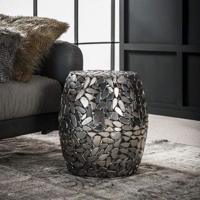 FURBO sofabord - antik nikkel, rund (Ø 40)