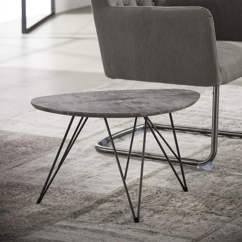 FURBO sofabord - betonlook og sort stål, nyreformet (40x60)