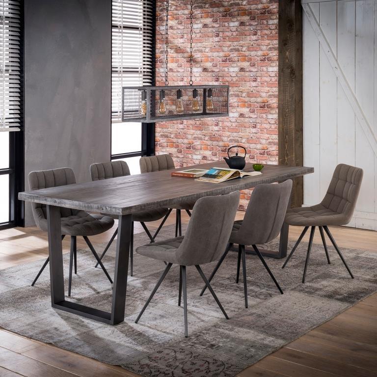 FURBO spisebord - grålig natur/sort mangotræ/metal (230x95)
