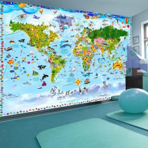 ARTGEIST Fototapet - World Map for Kids, børnevenligt verdenskort (flere størrelser) 100x70